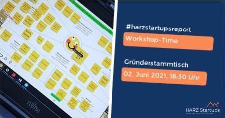 """Bild mit folgendem Text """"Workshop-Time, Gründerstammtisch, 02. Juni 2021, 18:30 Uhr"""""""